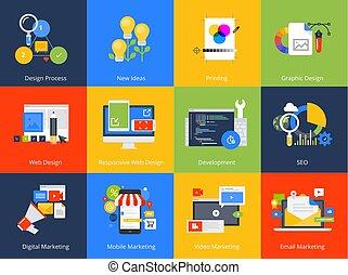 plano, diseño, concepto, icons.