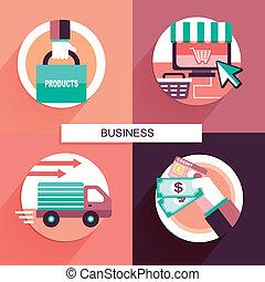 plano, diseño, concepto, ir de compras en línea directa