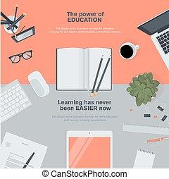 plano, diseño, concepto, para, educación