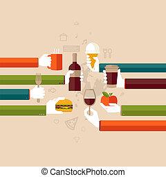plano, diseño, concepto, para, restaurante