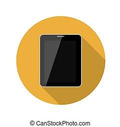 plano, diseño, concepto, tableta, vector, ilustración, con, largo, shadow.