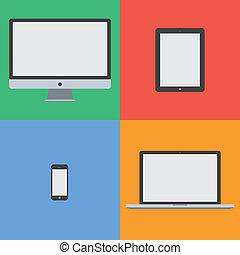 plano, diseño, dispositivo, colorido