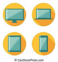 plano, diseño, dispositivo, iconos