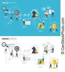 plano, diseño, estilo, tela, banderas, de, diseño, proceso