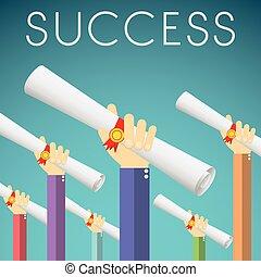 plano, diseño, graduación, éxito