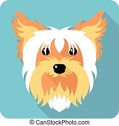 plano, diseño, icono de perro