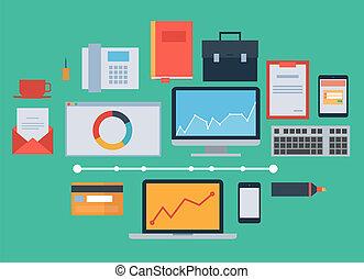 plano, diseño, icono, vector, colección, concepto, -, empresa / negocio, finanzas, y, mercadotecnia, elementos, oficina, cosas, equipo