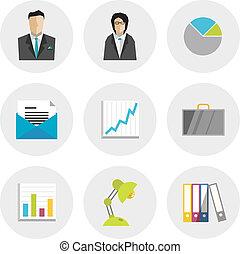 plano, diseño, iconos del negocio