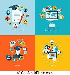 plano, diseño, iconos, para, educación