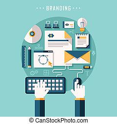 plano, diseño, illusration, concepto, de, branding