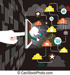 plano, diseño, ilustración, concepto, de, explorar, nube, red