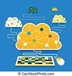 plano, diseño, ilustración, concepto, de, nube, informática