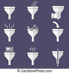 plano, diseño, ilustración, conceptos, para, creativo, proceso, grande, datos, filtro, datos, túnel, análisis, concepto