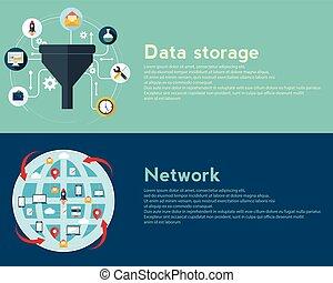 plano, diseño, ilustración, conceptos, para, creativo, proceso, grande, datos, filtro, red, datos, túnel, análisis, concepto, tela, bandera
