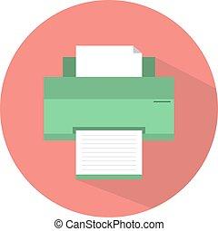 plano, diseño, impresora, icono