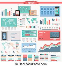 plano, diseño, infographics, elementos