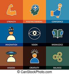 plano, diseño, línea, iconos, de, sabiduría, conocimiento,...