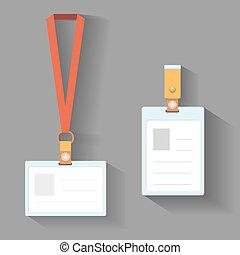 plano, diseño, lanyard, insignias
