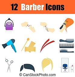 plano, diseño, peluquero, icono, conjunto