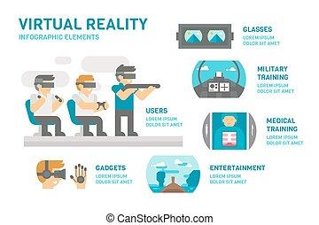 plano, diseño, realidad virtual, infographic