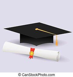 plano, diseño, tapa graduación, diploma