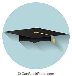 plano, diseño, tapa graduación, icono