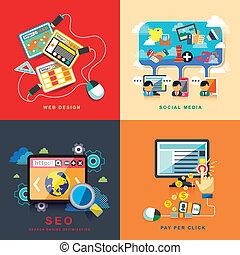 plano, diseño telaraña, seo, social, medios, paga, por, clic