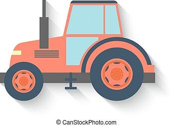 plano, diseño, tractor, aislado, blanco, fondo., vector