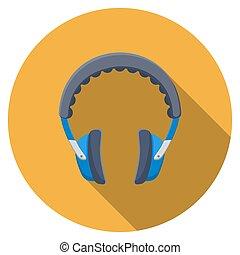 plano, diseño, vector, auriculares, icono