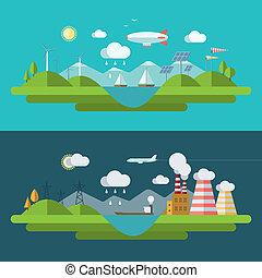 plano, diseño, vector, ecología, concepto, ilustración