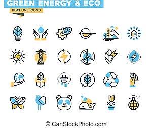 plano, diseño, verde, iconos de tecnología