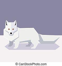 plano, diseño, zorro polar