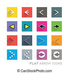 plano, diseños, -, flechas, icono
