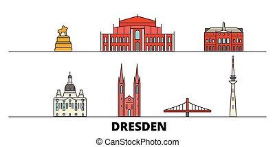 plano, dresden, illustration., ciudad, señales, famoso,...