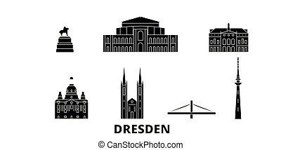 plano, dresden, ilustración, viaje, landmarks., símbolo,...