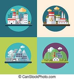 plano, ecología, concepto, ilustración, vector, diseño