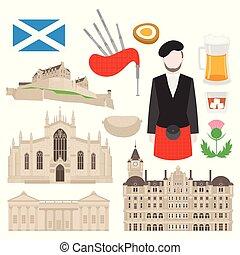 plano, edificio, en, escocia, unido, kingdom., turismo, y,...