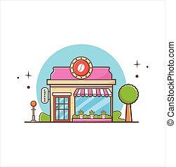 plano, edificio., fachada, tienda, estilo, ilustración, diseño, icono, café
