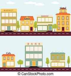 plano, edificios, conjunto, empresa / negocio, estilo, ...