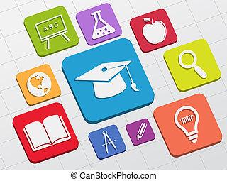 plano, educación, bloques, señales