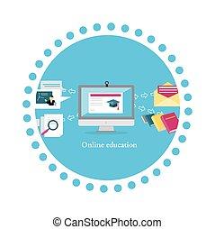 plano, educación, diseño, en línea, icono