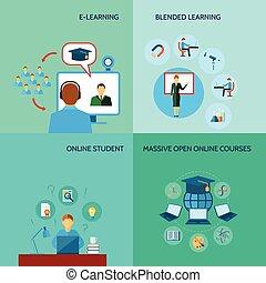plano, educación, en línea, icono