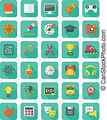 plano, educación, y, ocio, iconos