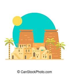 plano, egipto, luxor, diseño, tebas, templo