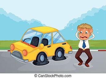 plano, el suyo, coche, sudoroso, neumáticos, al lado de, ...