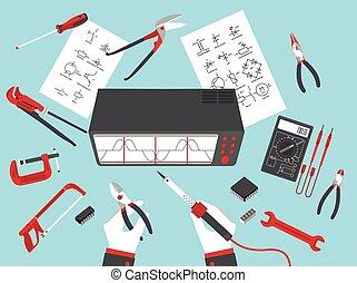 plano, electrónico, reparaciones