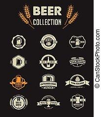 plano, elementos, iconos, colección, cerveza, vector