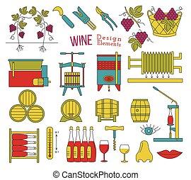 plano, elementos, saboreo, diseño, elaboración, vino