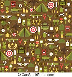 plano, elements., colorido, iconos, patrón, set., ejército,...