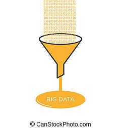 plano, embudo, grande, análisis, filtro, Ilustración, datos